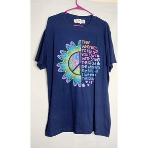 I am the storm peace t shirt blue L